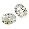 Rhinestone Rondelle (Flat Round) 10mm Silver/ Crystal Aurora Borealis